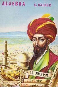 Portada de Álgebra, por Aurelio Baldor, con Al-Juarismi en tres cuartos.