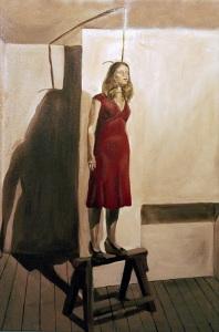 Controversial pintura de una mujer a punto de cometer suicidio, por Rosie Taylor